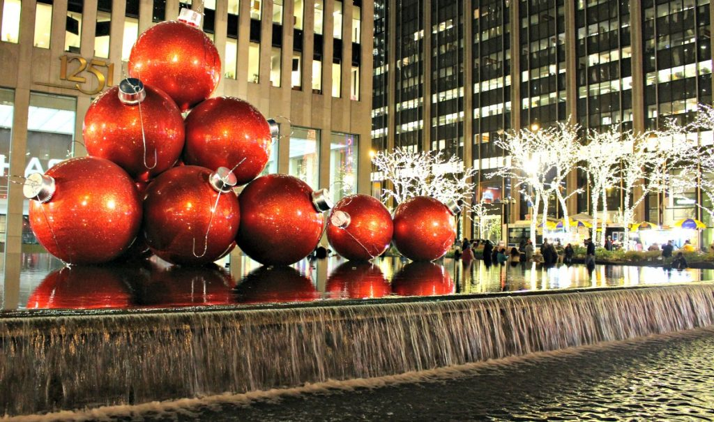 Christmas bauble decorations New York City