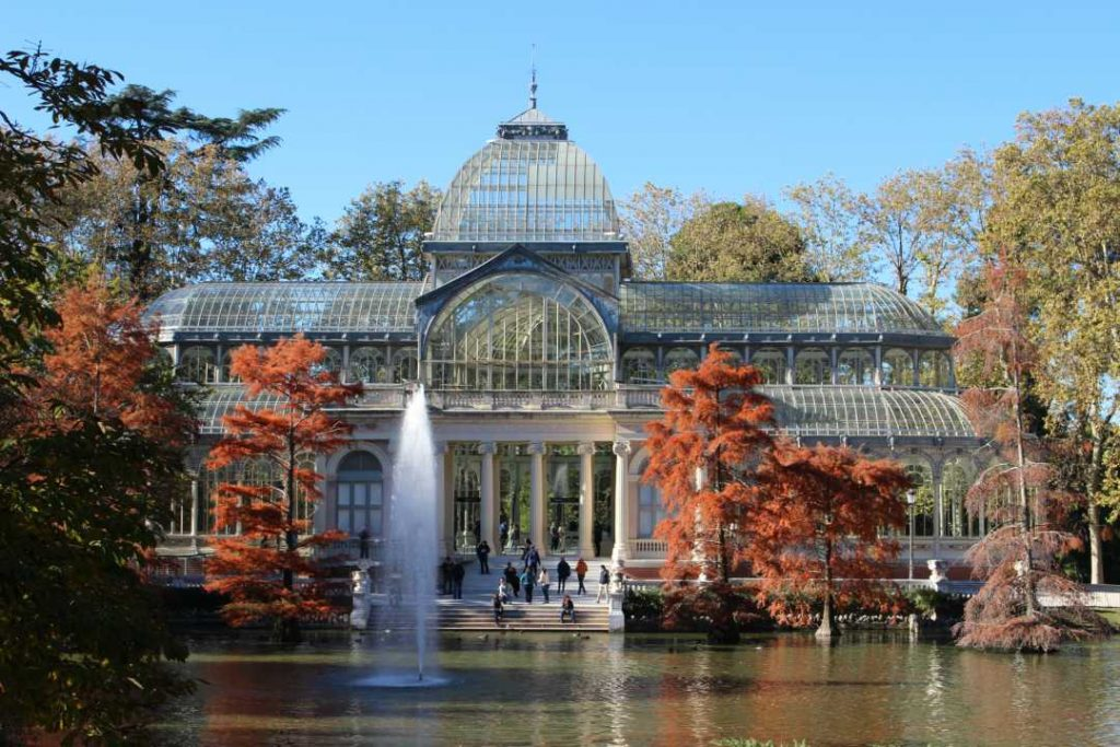 The stunning Cristal Palace in Retiro Park Madrid Spain