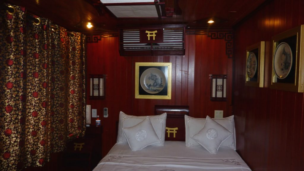 Comfortable cabin on our Halong Bay Cruise