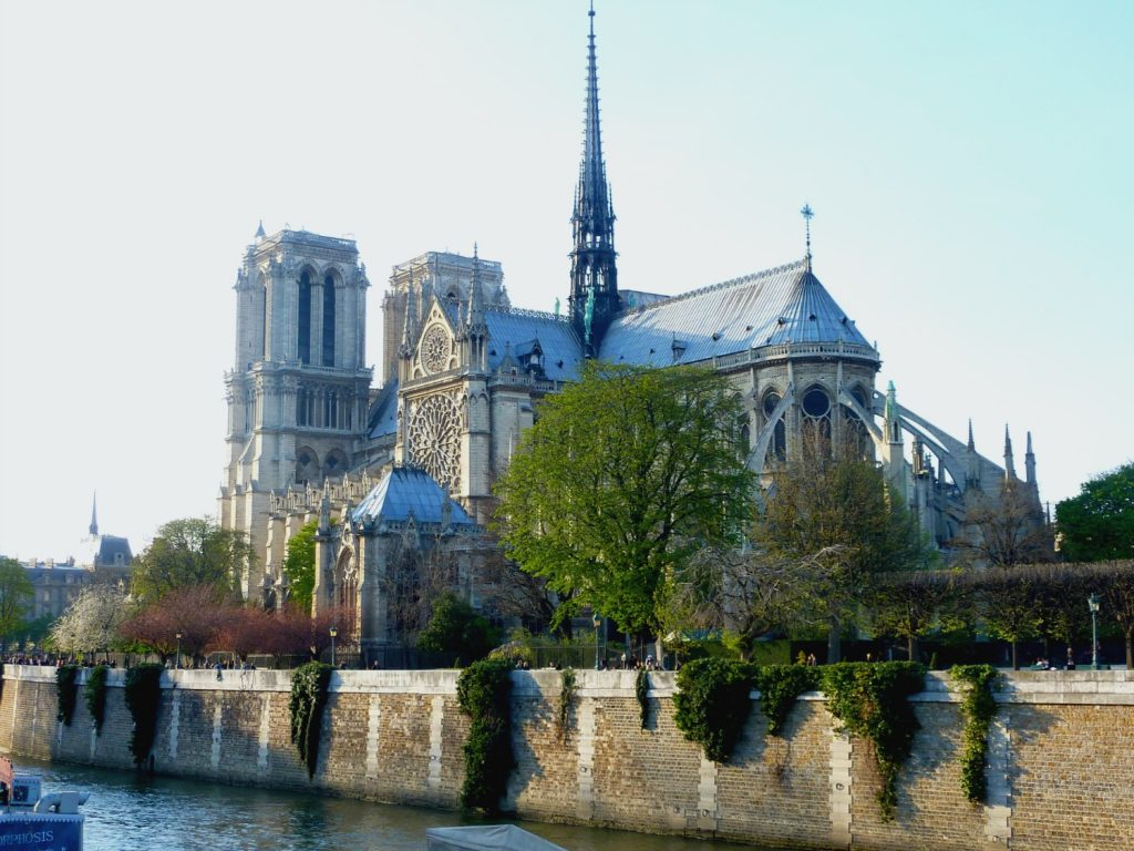 The rear view of Notre Dame Cathedral in Paris is not to be missed, especially in Spring