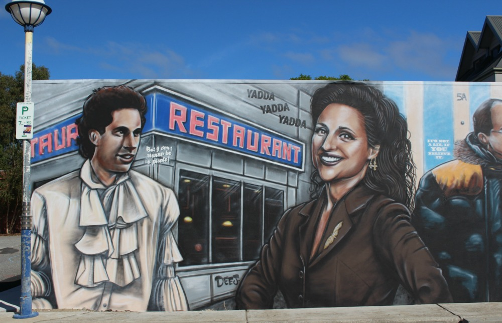 Mural of Jerry and Elaine Seinfeld street art Perth
