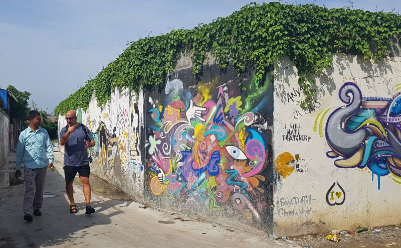 Phnom Pehn Street with graffiti