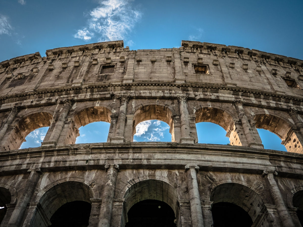 Close up of the Colosseum in Rome Italy