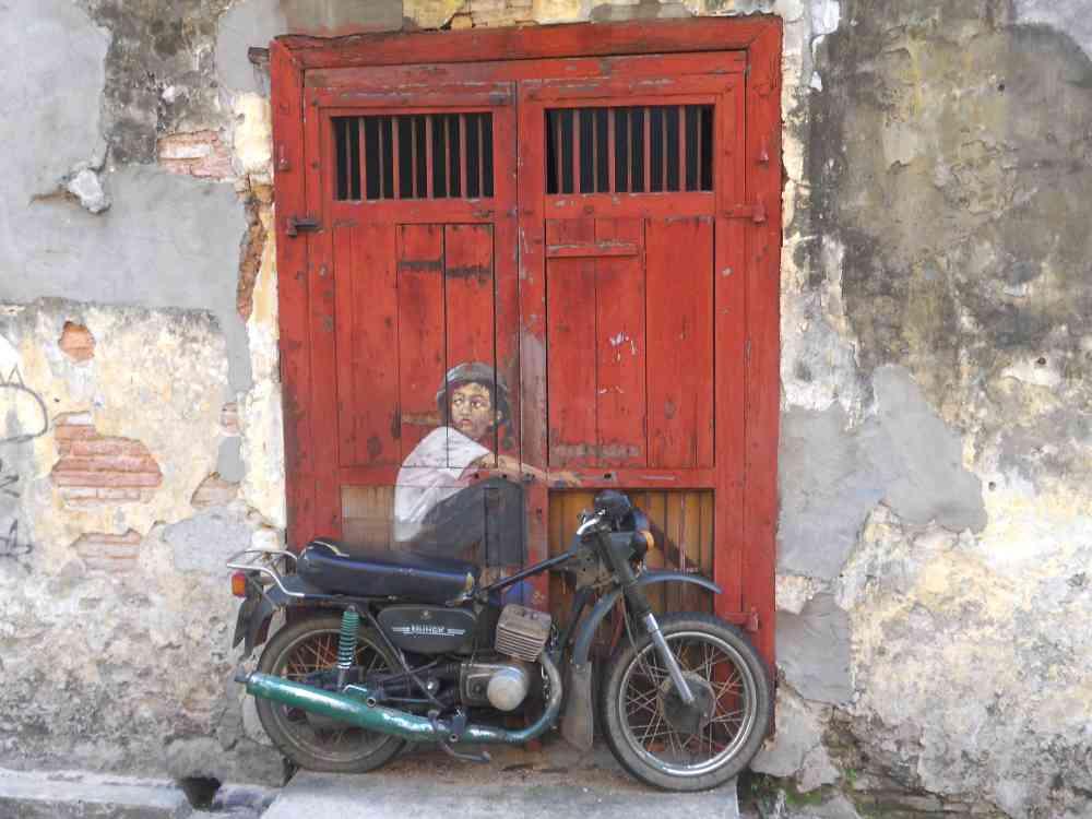 Motorbike street mural Penang Georgetown Malaysia