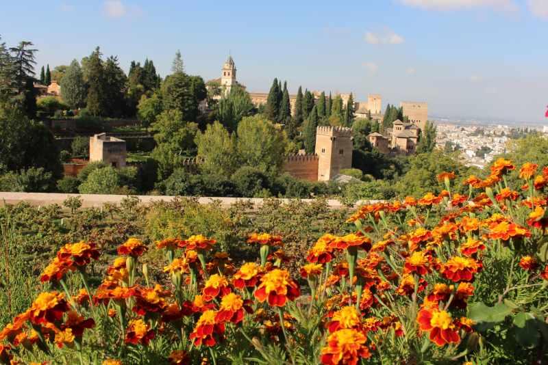 Alhambra Gardens in Granada Spain