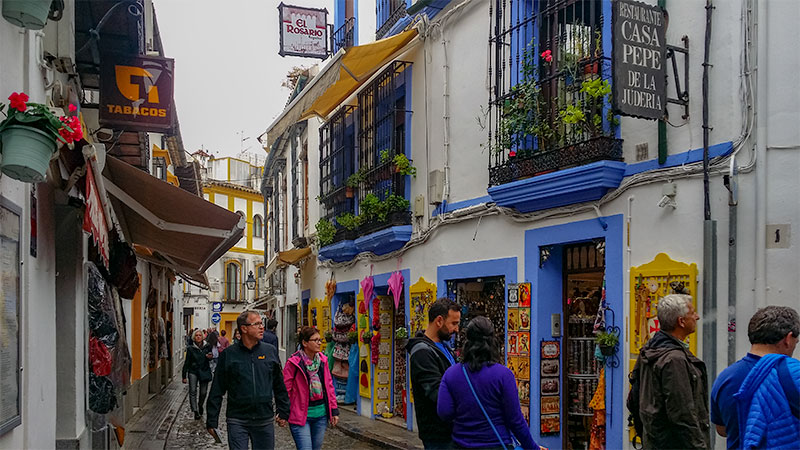 Colorful shops in Cordoba Spain