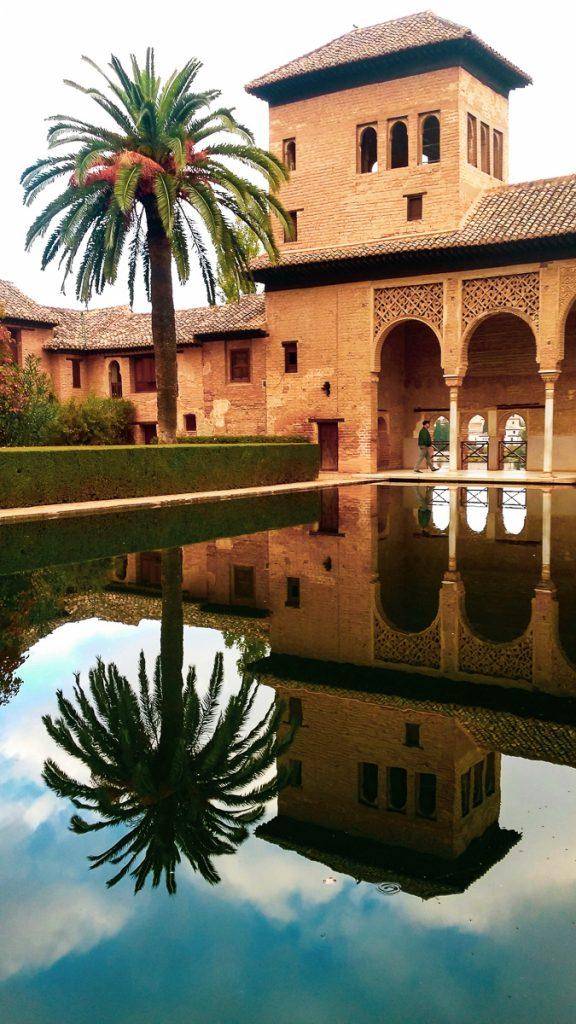 Torre de las Damas of the Alhambra reflection - 3 days in Granada Spain