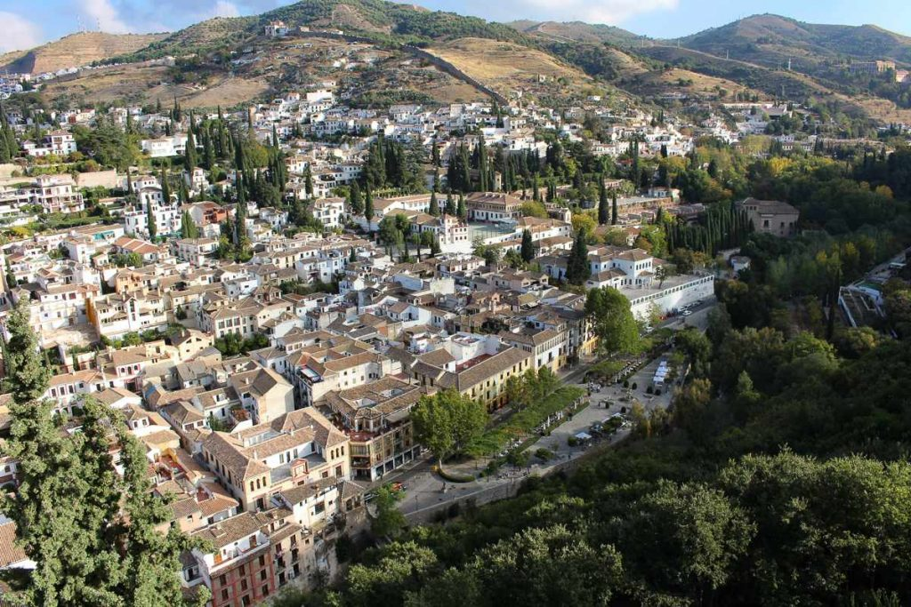 View of the Albaicin in Granada Spain