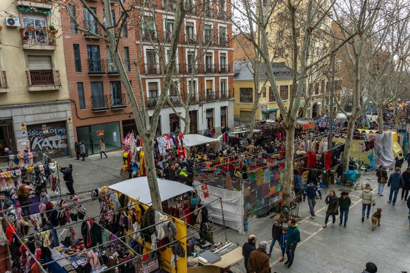 View of a market at Lavapies Madrid Spain
