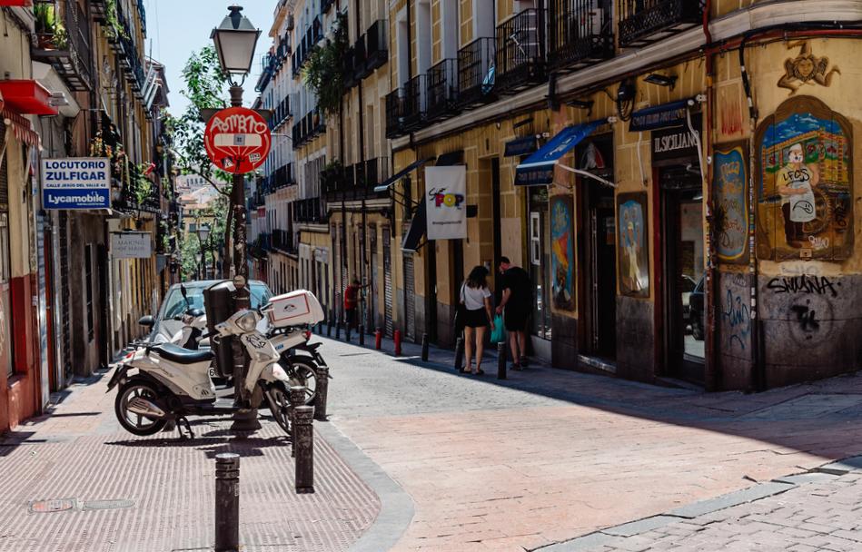Malasaña neighbourhood street scene Madrid Spain
