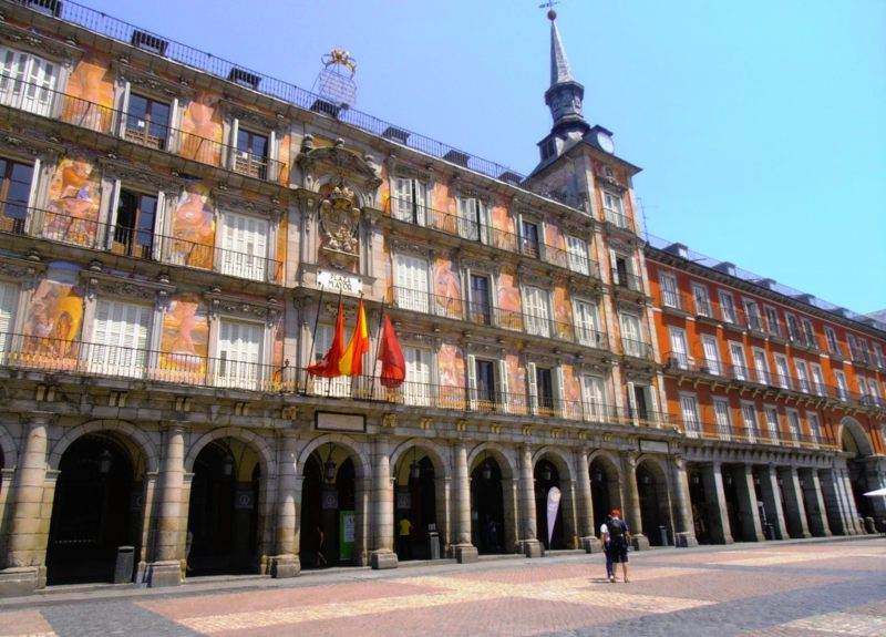 View of Plaza Mayor buildings Madrid Spain