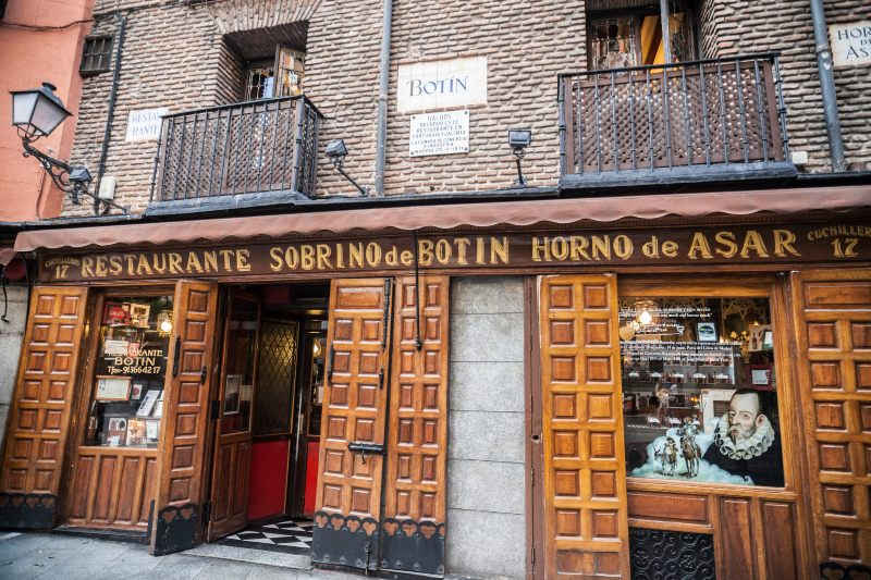 Exterior of Sobrino de Botín the oldest restaurant in Madrid