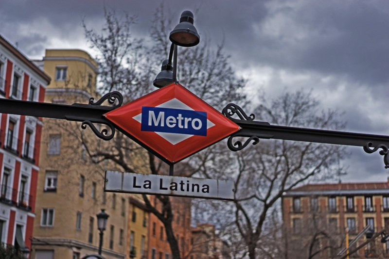 Metro Sign in La Latina Madrid