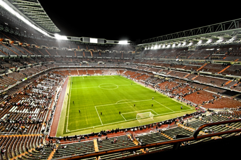 madrid soccer stadium in a night match